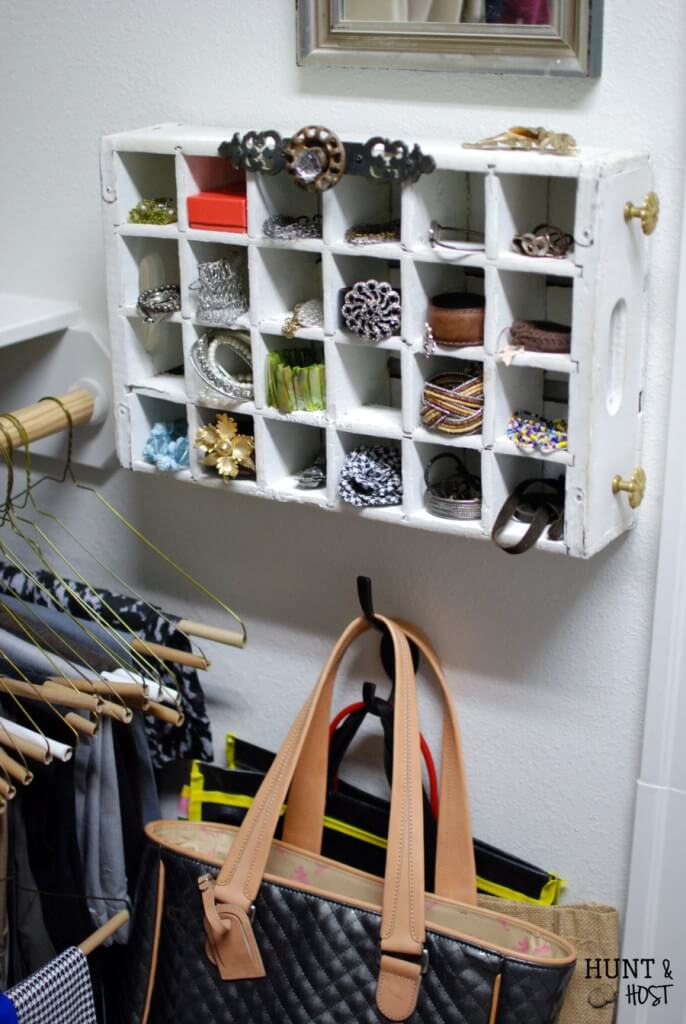 DIY Jewelry organizers from soda crate