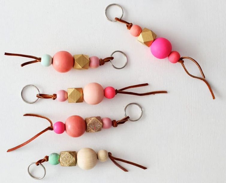 Wood Bead Keychains - Easy to make