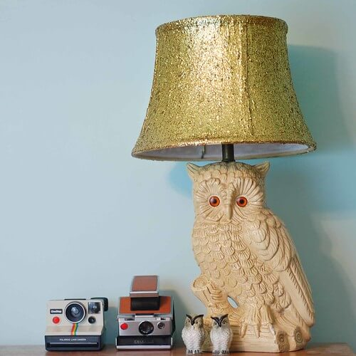 Glitter Lamp Shade - DIY Lampshade Makeover Ideas