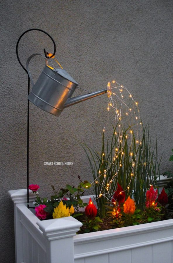 Garden Art Ideas - Glowing Watering Can with Fairy Lights