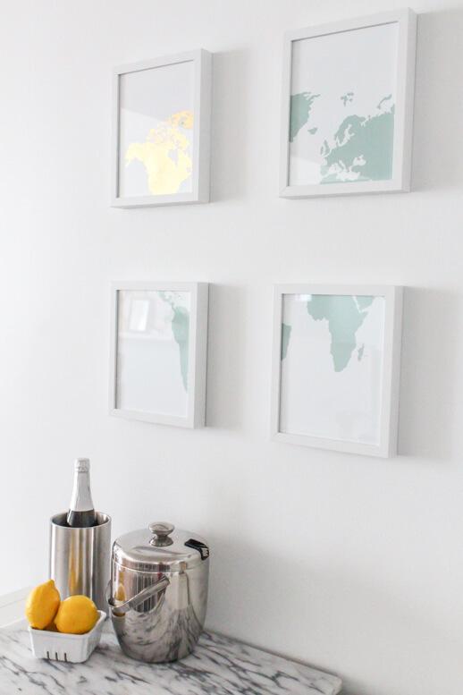 Gold Leaf Map Art - DIY Wall Art Ideas
