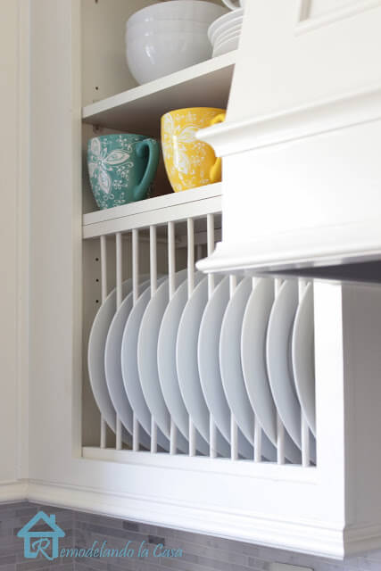 Stunning Inside Cabinet Plate Rack for Small Kitchen