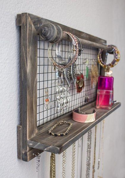 DIY Jewelry Organizer with Bracelet Rod