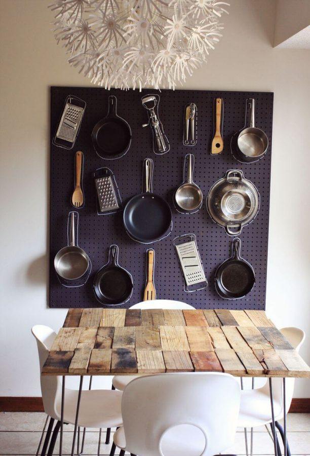 Pegboard for kitchen storage & organizer