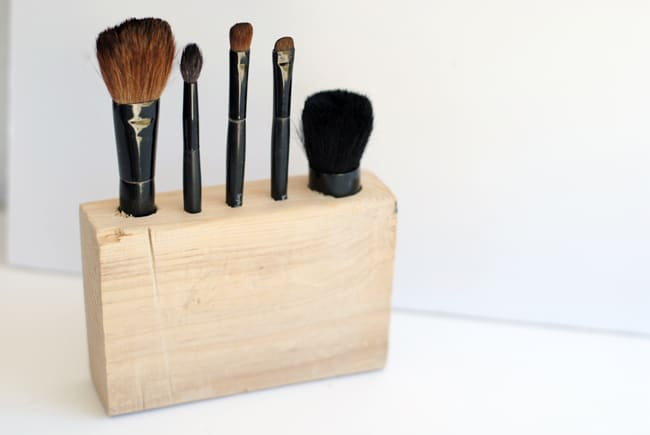 Makeup Brush Holder from Scrap Wood