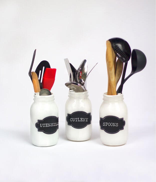 Painted Mason Jar Utensil Holders