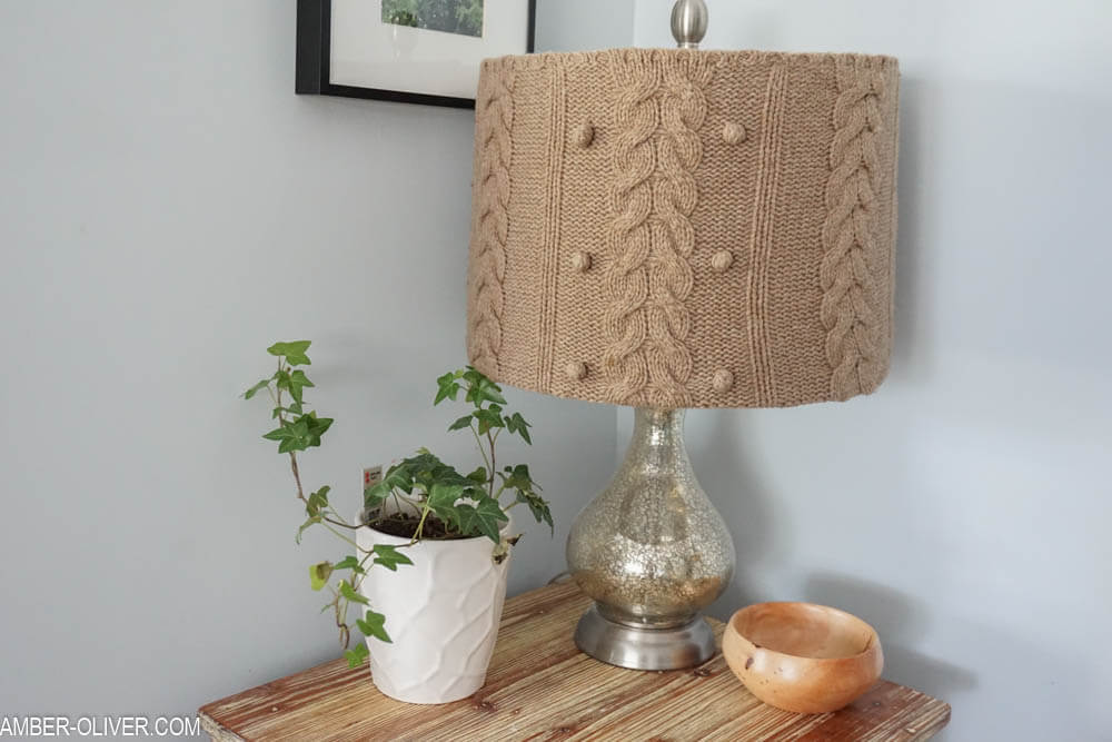 Sweater Lamp Shade - DIY Lampshade Makeover Ideas