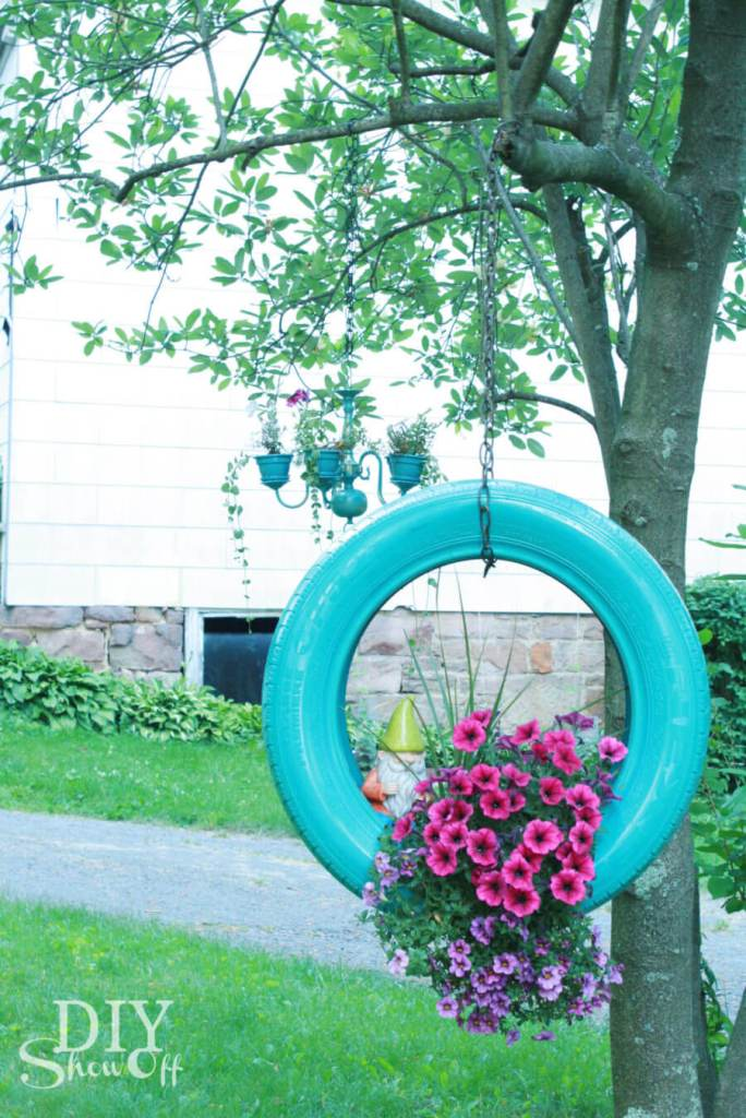 Garden Art Ideas - Swinging Tire Planter