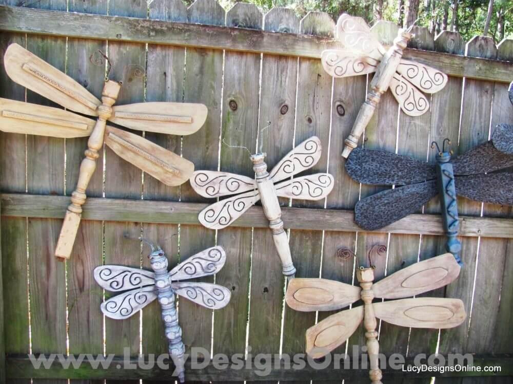 Table Leg Dragonflies - Garden Art Ideas