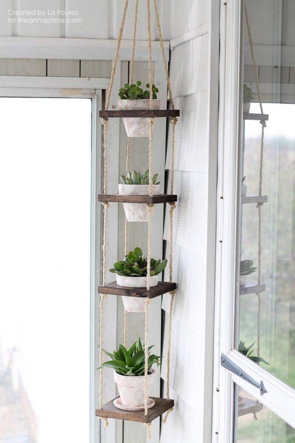 Wooden Vertical Plant Hanger
