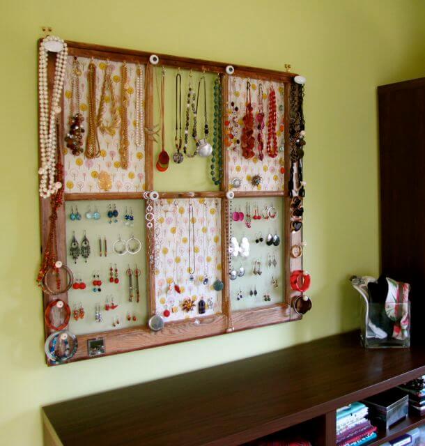 Jewelry display organizer from window frame