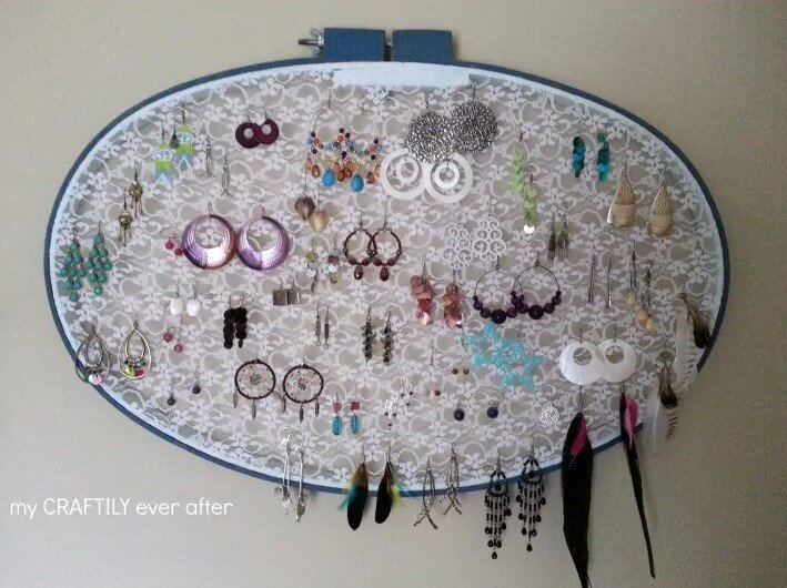 earring display from an embroidery hoop and lace