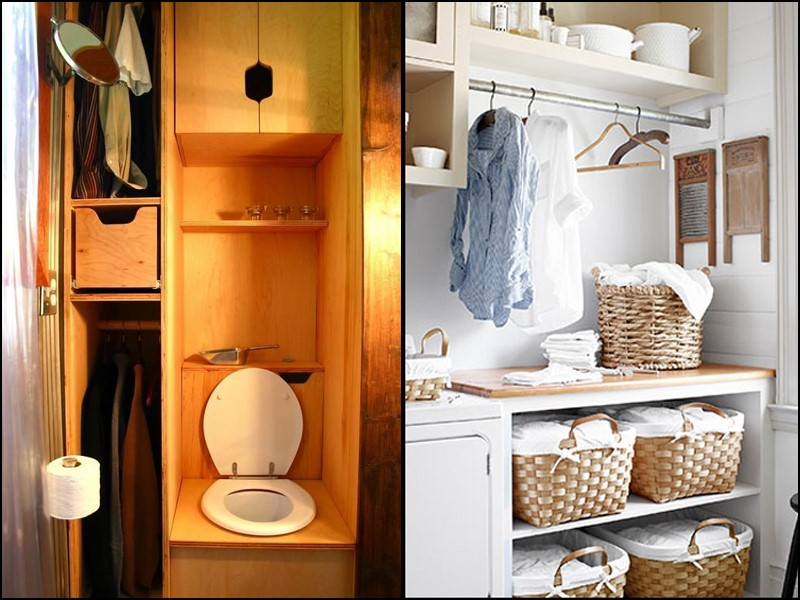 tiny house tips and tricks - rest room in a closet