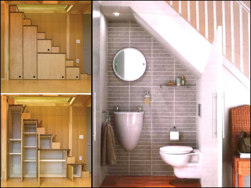 Tiny house under the stair storage ideas