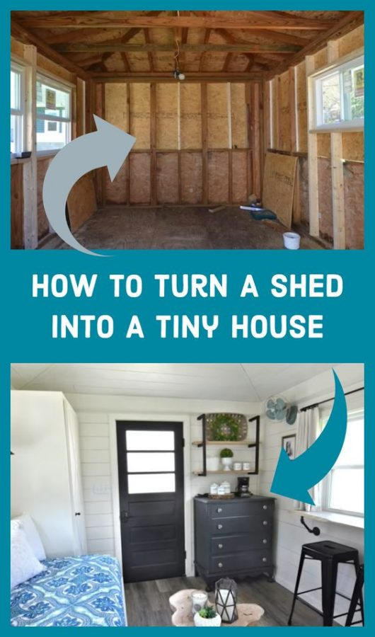 You can now easily learn how to turn a shed into a tiny house with these simple step-by-step guide. Bring the change you always wanted. #shedhouse #tinyhome #tinyhouse