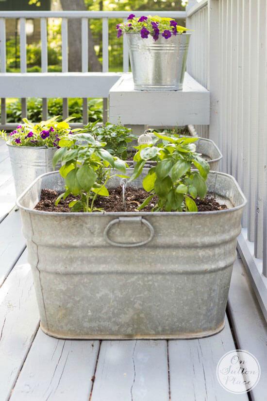 bucket deck garden