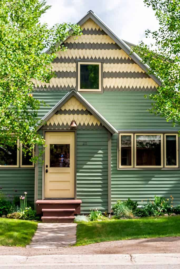Yellow Front Door Color for Green House