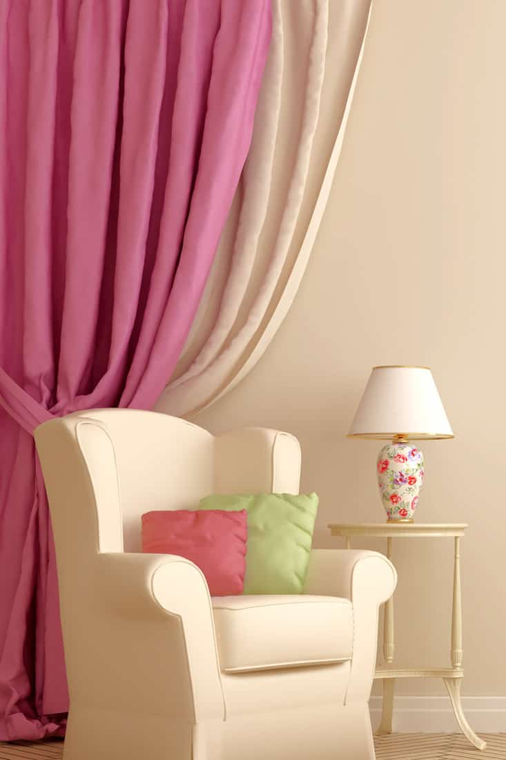 Two Tones Pink Curtain for beige wall