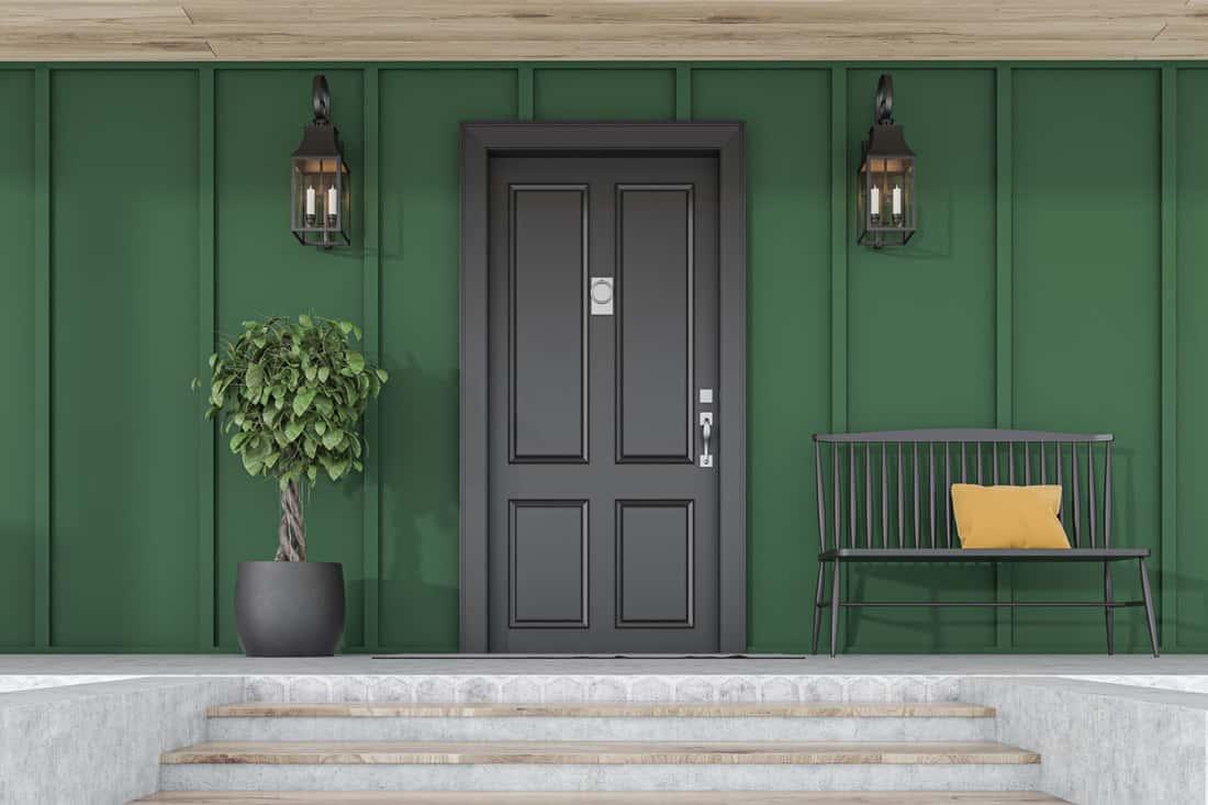 The Elegant Midnight Black Door for Green House