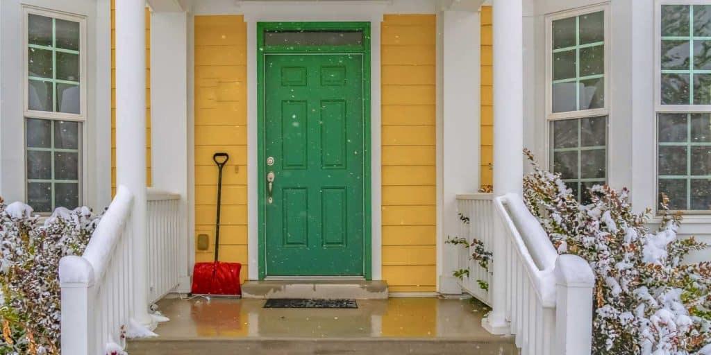 Yellow-Green Entrance - Front door color for yellow house