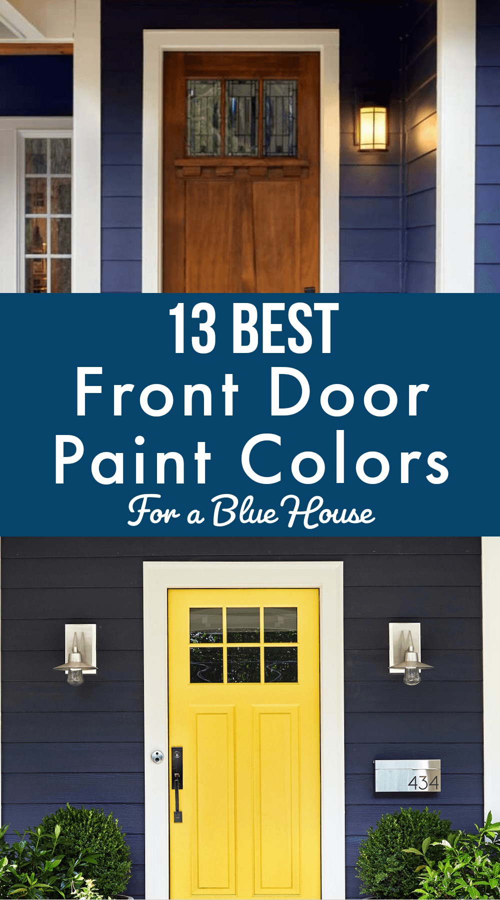 The Best front door paint color ideas for a blue house