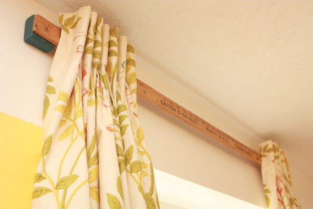 how to hang curtains without rod (yardstick)