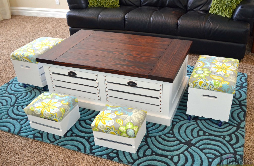 DIY Crate Storage Coffee Table and Tools