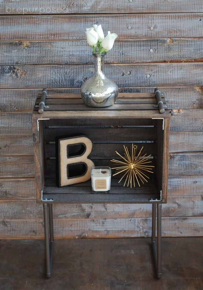 Industrial Pipe and Wood Crate End Table