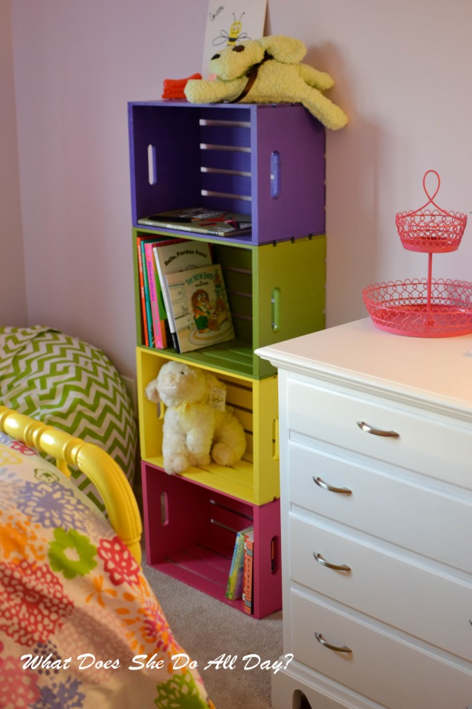 Simple Wood Crate Colorful Bookcase