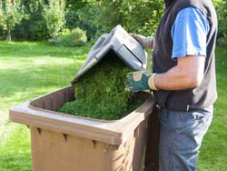 Put Grass Clippings in Waste Containers