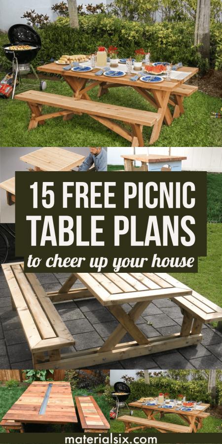 15 Free Picnic Table Plans