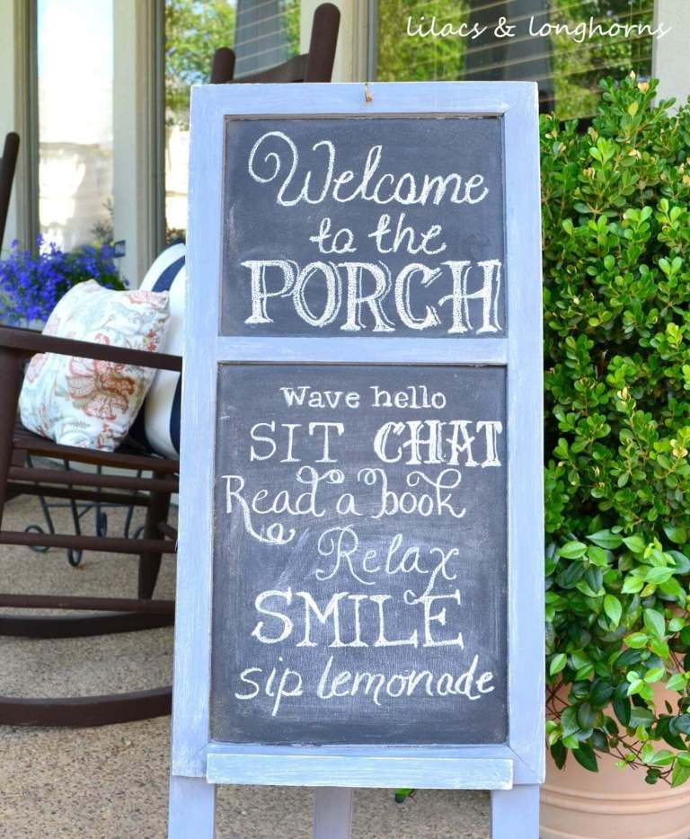 Easy Chalkboard Welcome Sign - front-porch-sign-ideas-and-DIY-projects
