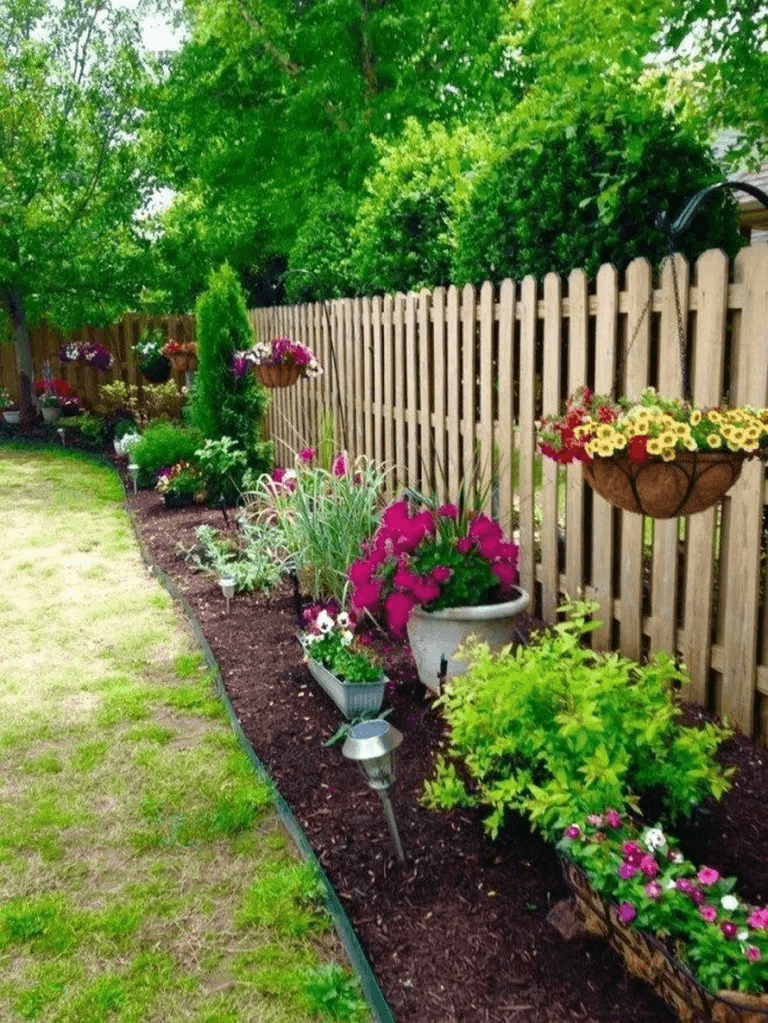 Hanging Pots for Colorful Flowers - backyard landscaping ideas on a budget