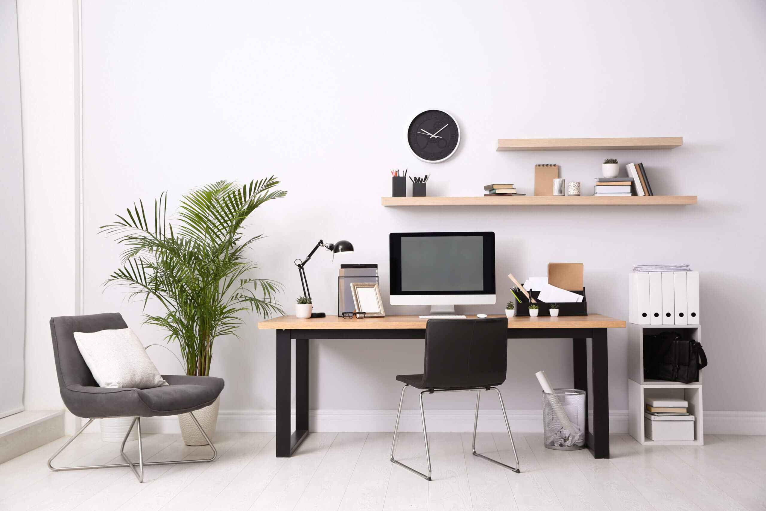 Modern Office Set with Houseplant
