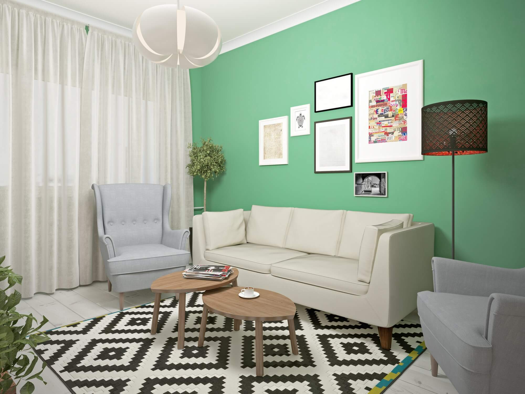 Pictures on Green Wall - Small Living Room Decor