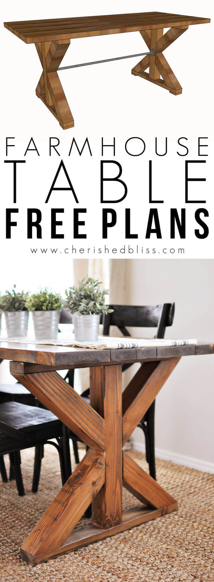 Large Dining Table - X-Farmhouse-Table-Free-Plans