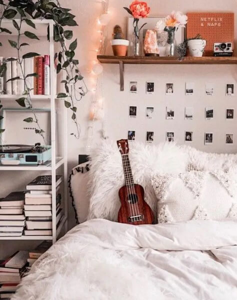 Simple Aesthetic Room withPolaroids - aesthetic bedroom ideas