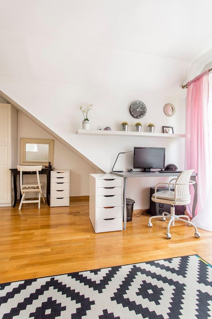Feminine Home Office in Bedroom
