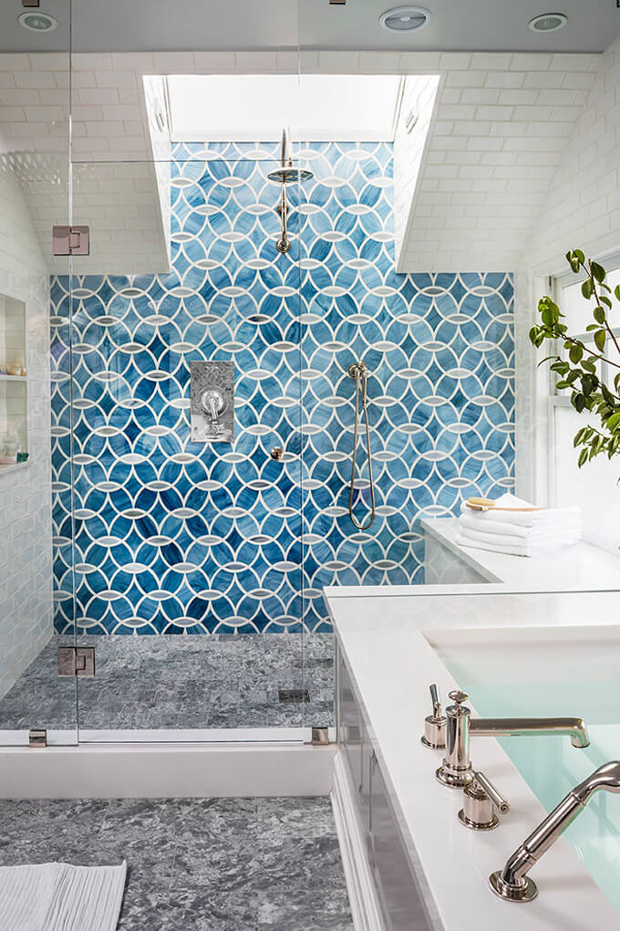 One-sided Blue Cement Tiles