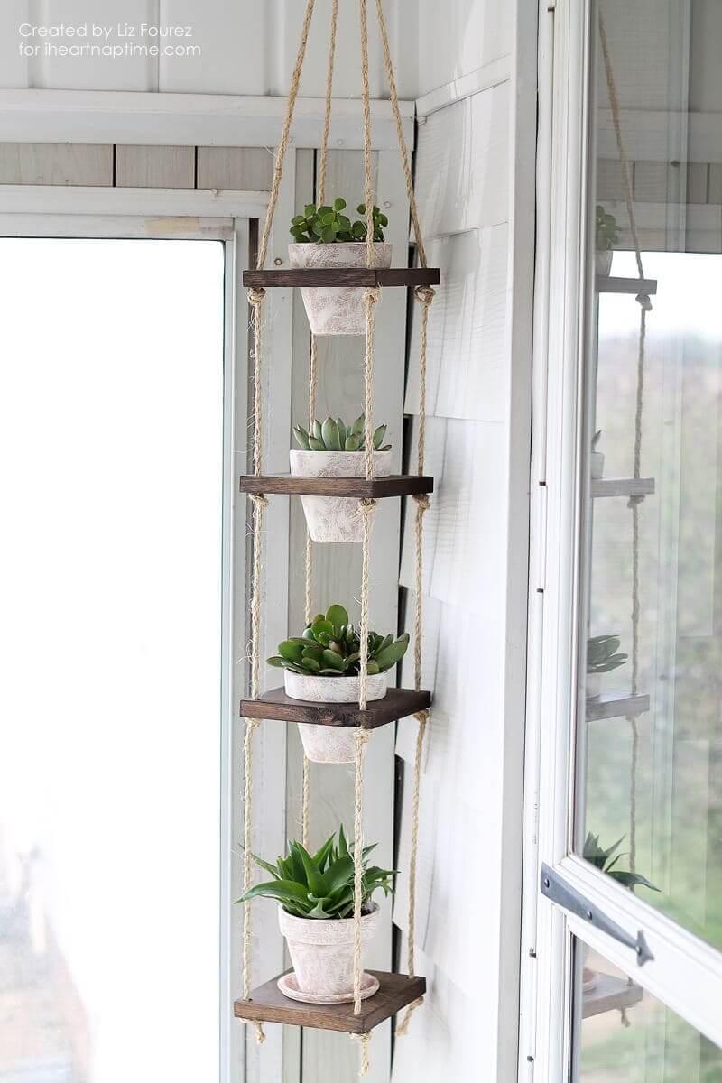 Wooden Square Plant Hanger - DIY-Vertical-Plant-Hanger