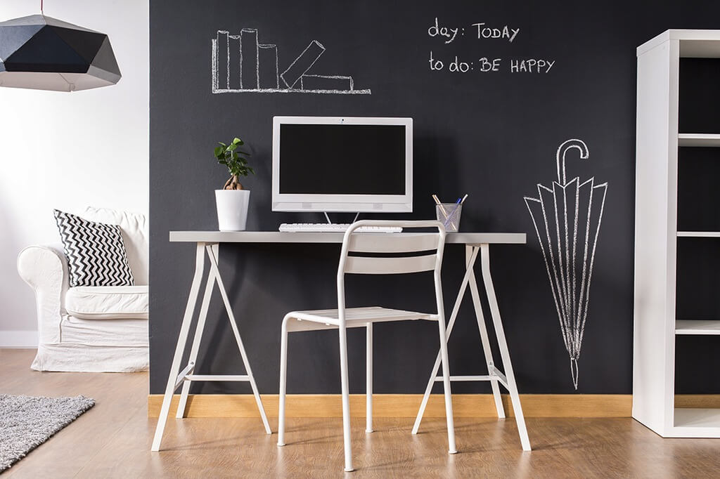 Black Wall and White Furniture
