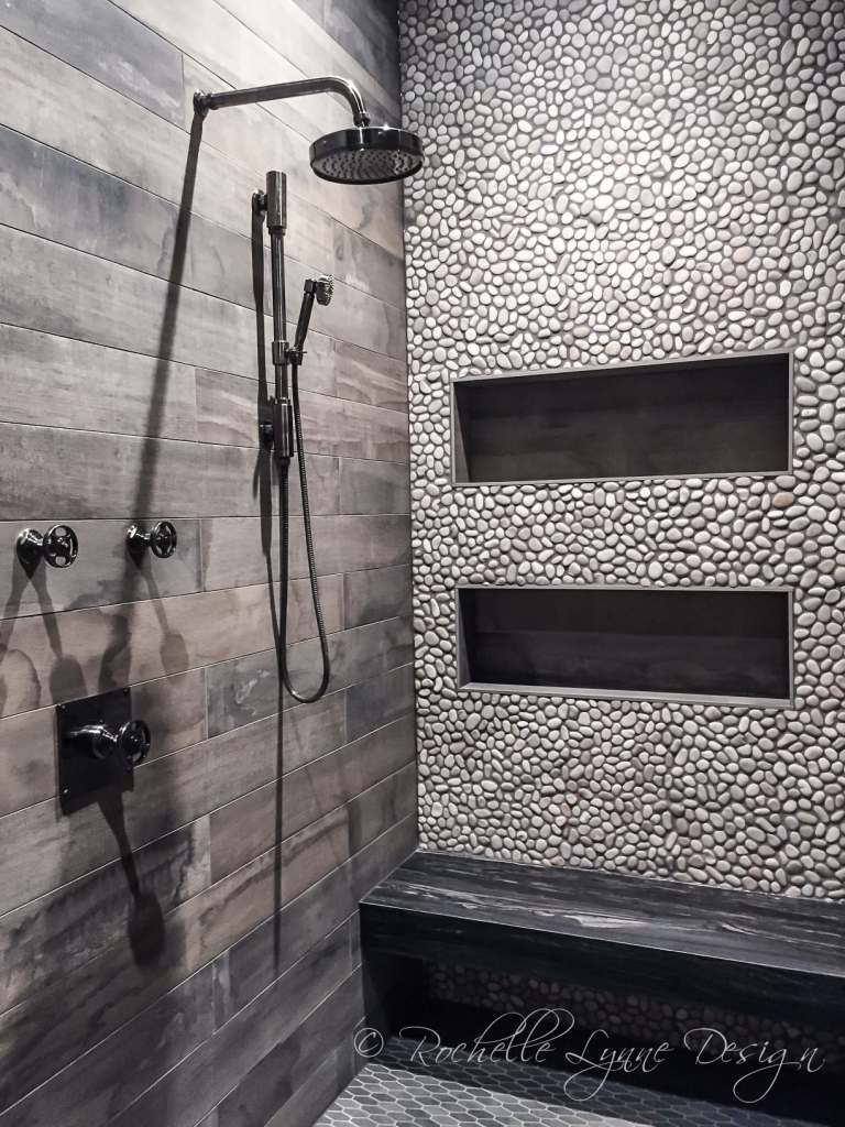 Dark Shower Tile Ideas withInlaid Pebbles - rustic-barnboard-and-pebble-tile-shower