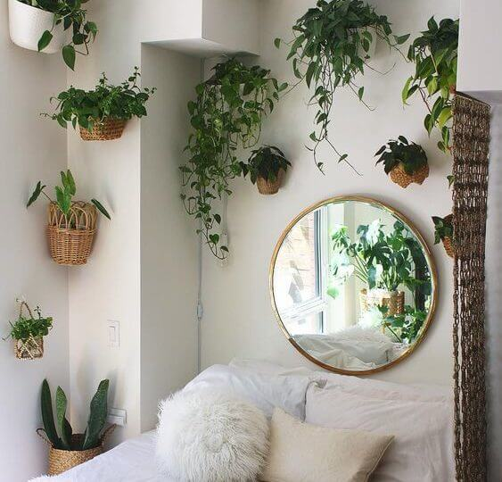 Hanging Planters with Wicker Baskets - aesthetic room