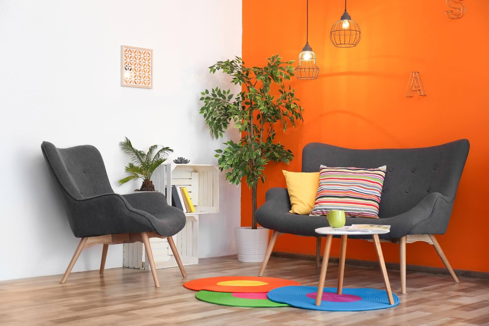 Orange & White Wall - Living Room Decor Ideas on A Budget