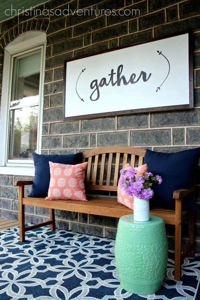 """Large """"Gather"""" Wooden Sign"""