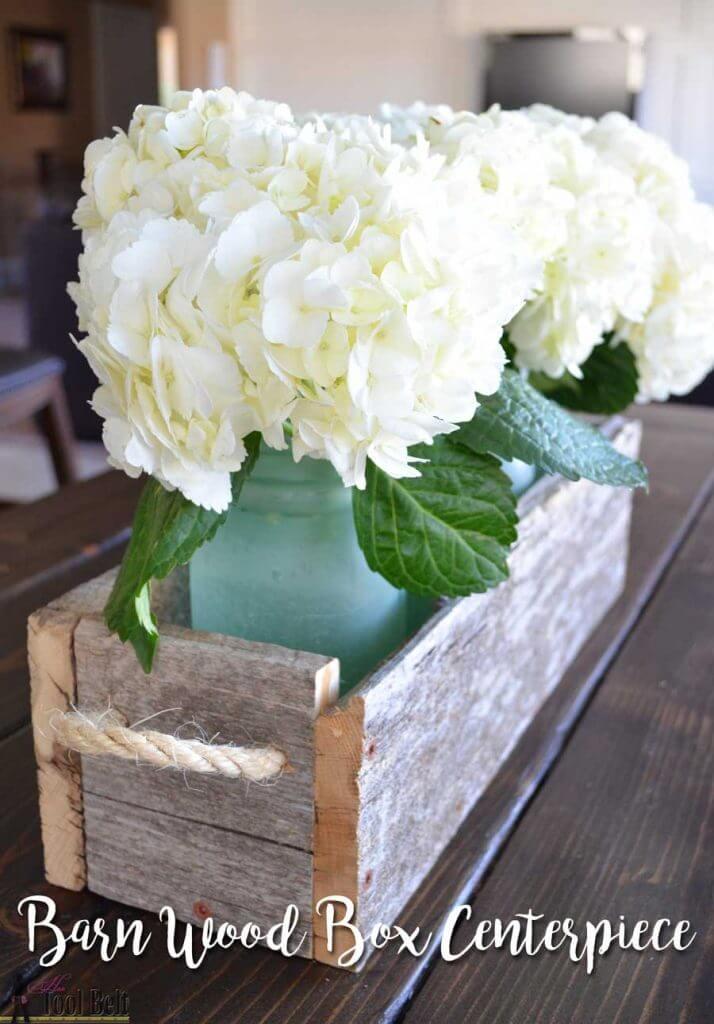 Farmhouse Box Centerpiece - barn-wood-box-centerpiece