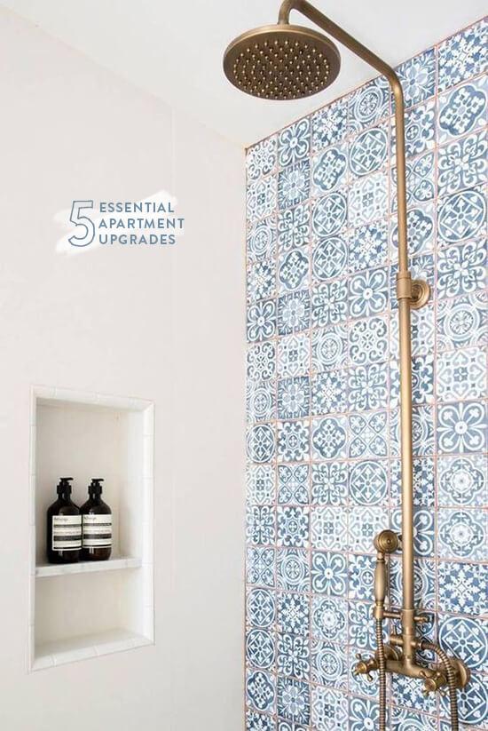 Mix Patterns Blue Shower Tile
