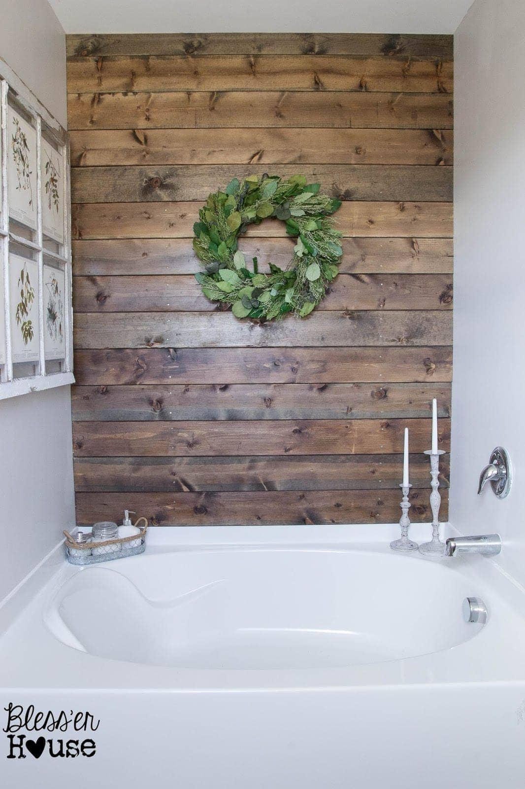 Pallet Wall - bathroom-plank-wall - Reclaimed Wood Projects