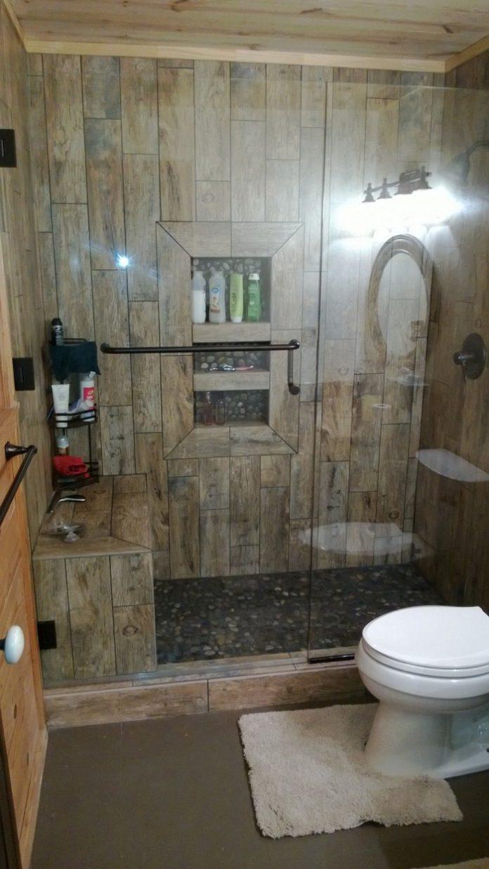 Full Wooden Tiling with Pebble Floor - DIY-Pebble-Shower-Floor