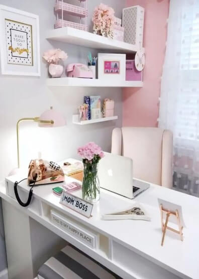 Comfy Soft-Pink Home Office